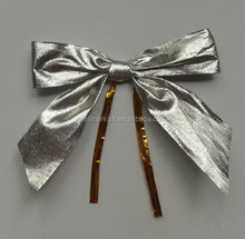HOT SALE ! Metallic Fabric Hot Cut Gift Ribbon Bow Tie with Twist Cord