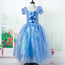2015 nuevos estilos brillo traje de cenicienta vestido de princesa cenicienta vestidos para niñas