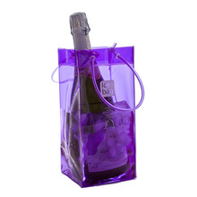 Factory Direct Sale Recyclable Various Fluorescence Color Transparent PVC Single Wine Beer Bottle Ice cooler Carrying Bag