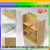Customized floor wooden portable display shelves