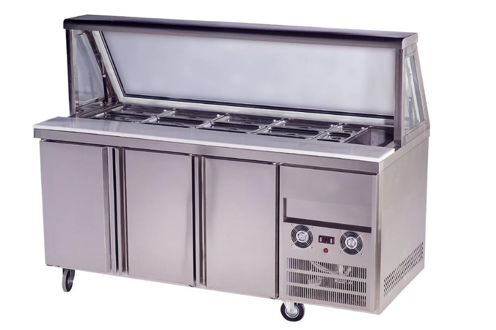 단일 문 피자 준비 작업 테이블 커버/카운터 상단 상업 냉장고 ...