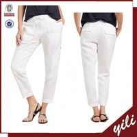 2015 linen women pants zipper cargo pants