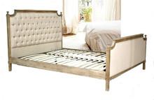 Francés antiguo ecológico tela de madera maciza <span class=keywords><strong>cama</strong></span> de matrimonio