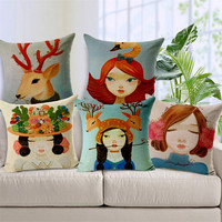 2015 fashionable digital printing for linen cushion cover wholesale