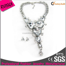 2015 fancy trendy crystal rhinestone new necklace and earring jewelry sets