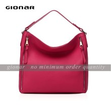 Pink pebble litchi leather handbags for women pure handcraft