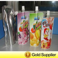 small plastic juice bags packaging with spout top