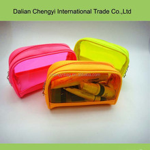 Fresh color easy taking waterproof joint pvc cosmetic bag for travel