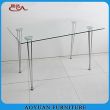 C22 rectangular 4 person glass top chrome dining table and chair