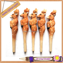 Jieyi art minds carved wooden pen,novelty wooden promotion gift,natural wooden fork crafts