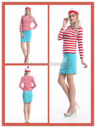 """Adult drop ship carnival junhou<span class=""""_product""""></span> Hot Sale 1019 Wheres Wally Fancy Dress Outfit Hat Glasses Ladies"""
