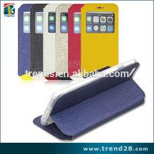 cor de tom dois flip couro stand caso de telefone celular para o iphone 6