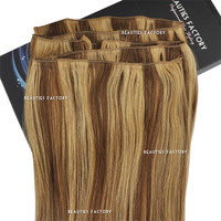 "Beauties Factory 20"" Straight Remy Human Hair Extensions Weft 100g #6/27 Golden Brown/Butterscotch"