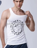 2015 Wholesale Men's White Cotton Slim Fit Plain Blank Tank Top Men's Gym Singlet OEM vest