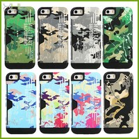 UMKU cell phone pc + silicone camouflage hybrid card case for iphone 5 5s