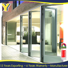 exterior louvered door / glass commercial folding doors /double pane glass folding door