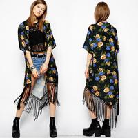 Instyles Summer Ladies vintage Boho Floral Tassels maxi kimono coat Cardigan blouse SV004979 boutique clothing Clothing