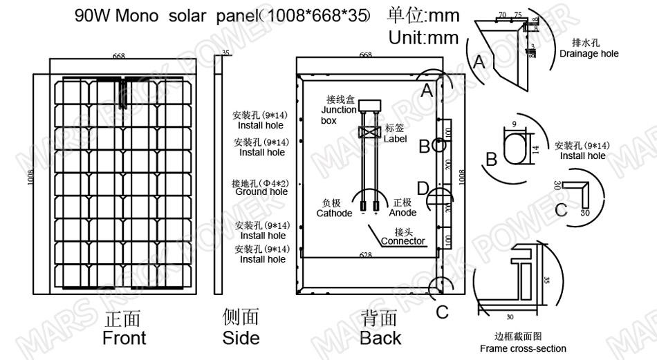 90w 18v 36cells high quality monoycrystalline tempered glass solar panel with size 1008x668x35mm