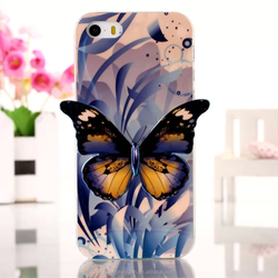 Luxury Blue Light Plating 3D Colorful Butterfly Soft TPU Case For iphone 5 5s