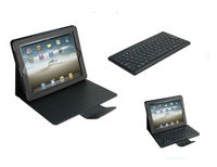 CE FCC RoHS detachable bluetooth wireless keyboard+ leather case for ipad 3, for ipad plastic keyboard case BK-18