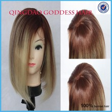 fashion highlight/mix/blend bob wig!! short Russian virgin remy human hair glueless lace front wig american africa wigs