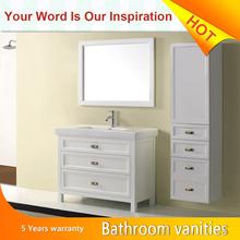 European style vanities white oak Melamine -Luxury Modern metal Bathroom cabinet
