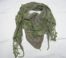 Stock Style !!! Triangle Patchwork Lace & Cotton Scarf