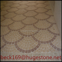 Fan shape pattern granite paving stone , cobble stone , plaza cubestone