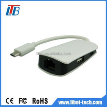 High speed usb c type interface to Rj 45,usb hub 4 port,usb to Rj45 converter with DC5V power input