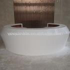 2014 morden design de mármore artificial curvo branco escritório balcões de recepção; móveis para escritório mesa da frente
