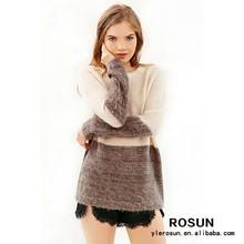 Dulce color clasificado de lana sweaters pullover manga larga de cuello redondo suave y cálido