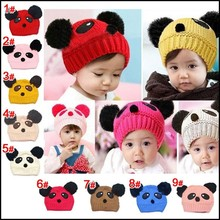 Top Quality Baby Hats For Kids With Raccoon Fur Balls Knitted Baby Kids Hats