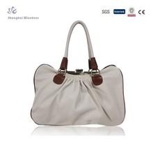 2014 Original Design Ladies PU Handbag with Pleats and Metal Frame Closure
