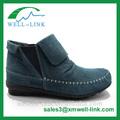 De moda de deslizamiento- en gamuza de cuero del tobillo botas planas para las señoras en el otoño