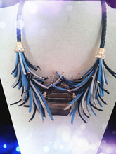 limited edition! sense of levels cords lady necklace, mixed blue cords party necklace