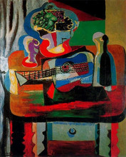Guitar, bottle, fruit dish and glass on the table still life Picasso painting