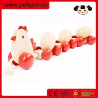 Imitate Wooden Toy pull string chicken with eggs