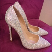 bling bling amazing rhinestone red bottom brand high heel shoes women wedding party fashion shoes