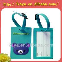 3D cartoon logo Soft PVC luggage tag/Plastic travel tag/Rubber tag