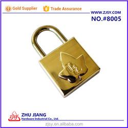 Square Shape Maple Leaf Zinc Alloy Keyed Padlock In Golden Color