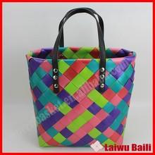2015 handmade woven brand hot sale popular plastic handbag