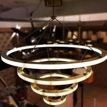 American Style Modern Copper Brass LED Circular Ring Pendant Light,MC9145