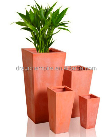 cuadrada alta fibra de arcilla flores jardineras para decoracion flores macetas de terracota