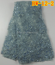 Silver bright and light net lace fabric with sequins BW-12-2