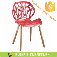 Plastic Carving Dining Room Chair with Wood Legs Made in China