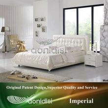 Super Value Shiny White Upholstered Bed 1106
