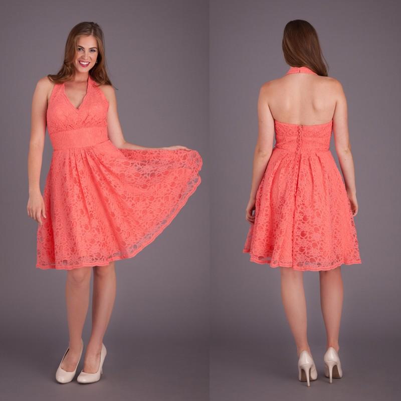 Bd53 custom made halter knee length wedding guest dresses for Halter dress wedding guest