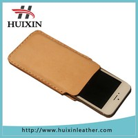 Classical leather phone case brown leather phone pouch for factory price