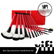 New product custom design high grade red 13 pcs cosmetic brush in bag