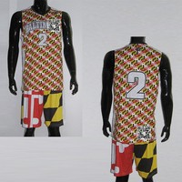 2015 Custom New Design Sublimated Camo Basketball Uniform